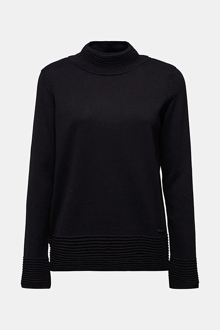 Turtleneck jumper made of organic blended cotton, BLACK, detail image number 6