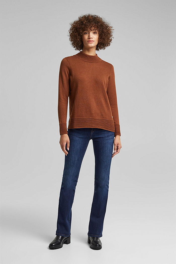 Sweter z półgolfem z mieszanki z bawełną ekologiczną, TOFFEE, detail image number 5
