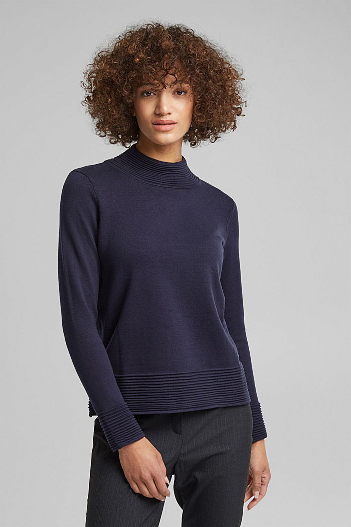 Turtleneck jumper made of organic blended cotton, NAVY, detail image number 0