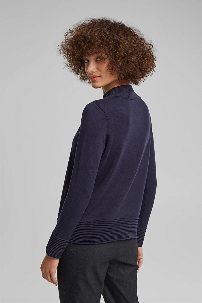 Turtleneck jumper made of organic blended cotton, NAVY, detail image number 3
