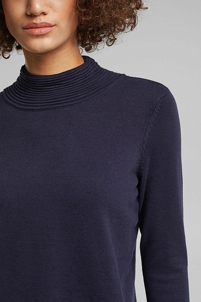 Turtleneck jumper made of organic blended cotton, NAVY, detail image number 2