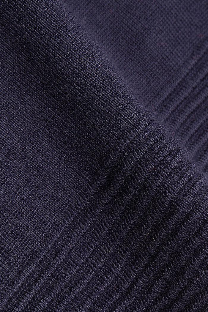 Turtleneck jumper made of organic blended cotton, NAVY, detail image number 4
