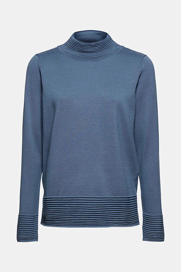 Pull-over à col cheminée en coton biologique mélangé, GREY BLUE, detail image number 6