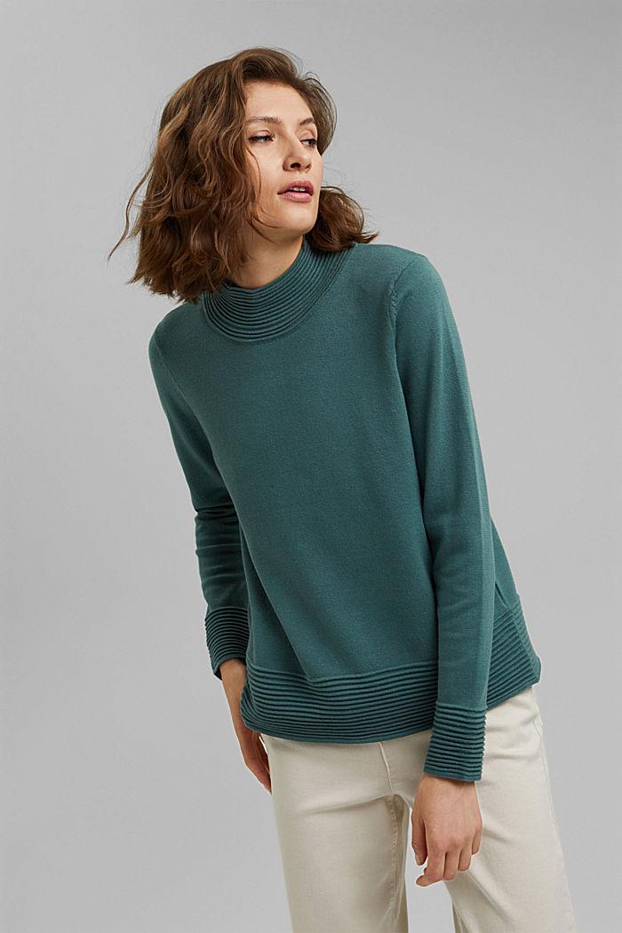 Sweter z półgolfem z mieszanki z bawełną ekologiczną, TEAL BLUE, detail image number 0
