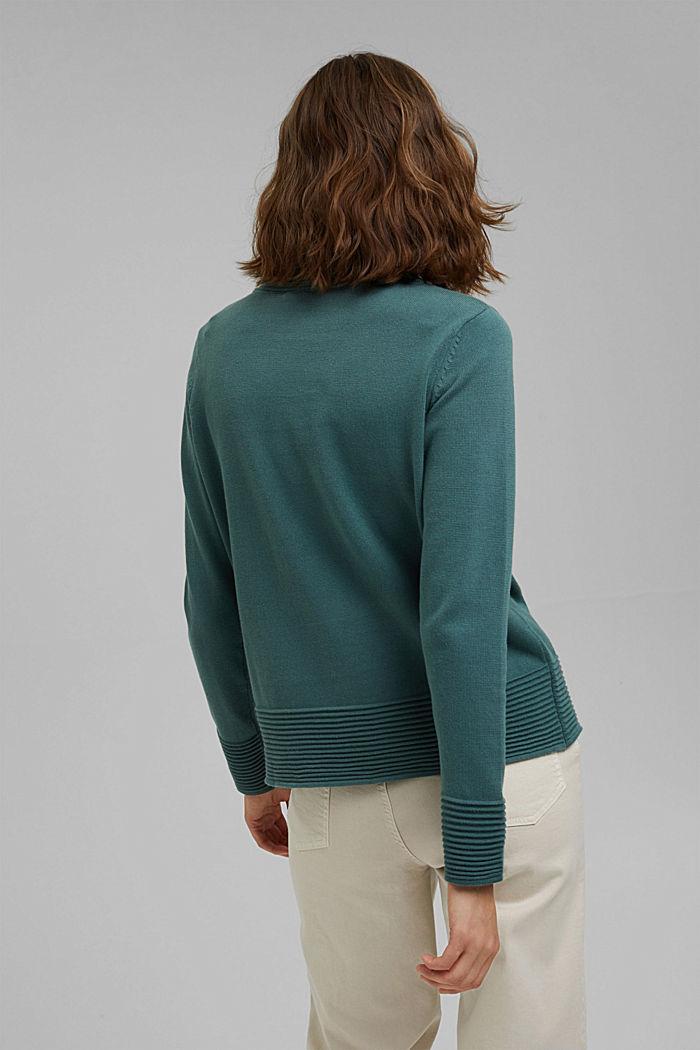 Sweter z półgolfem z mieszanki z bawełną ekologiczną, TEAL BLUE, detail image number 3