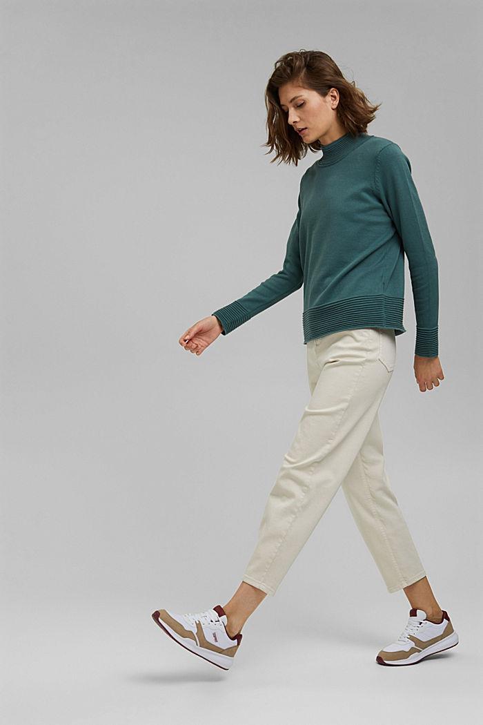 Sweter z półgolfem z mieszanki z bawełną ekologiczną, TEAL BLUE, detail image number 5