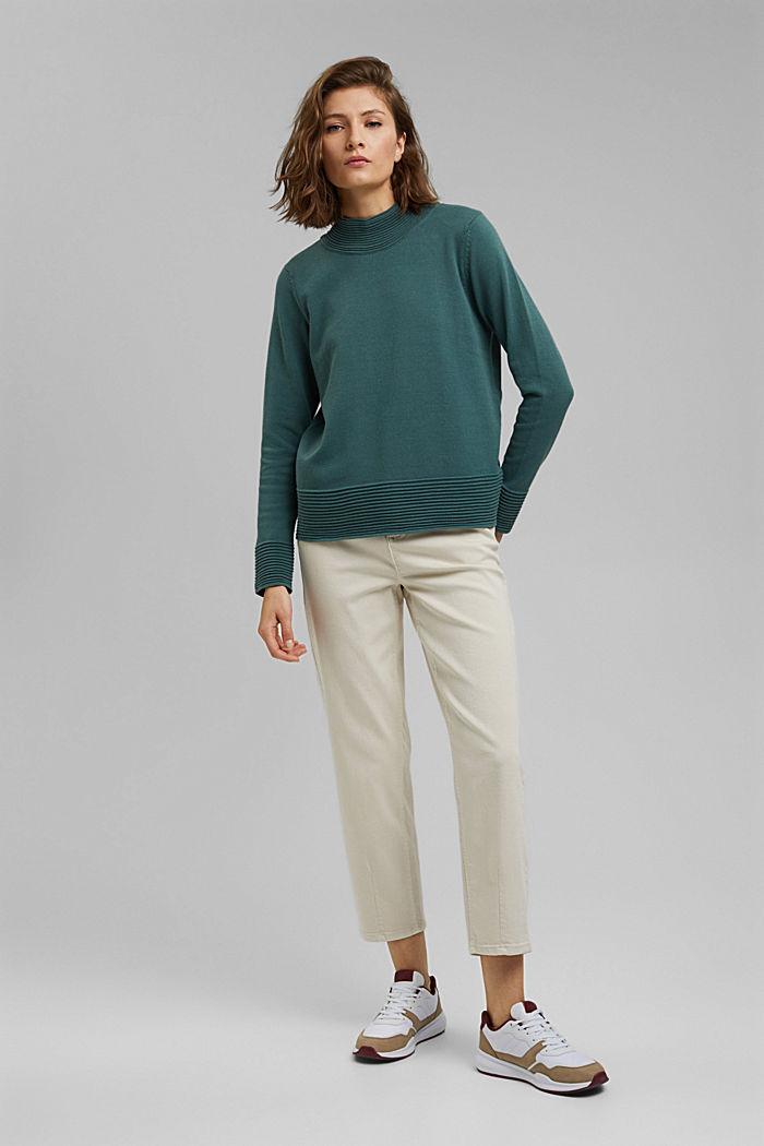 Sweter z półgolfem z mieszanki z bawełną ekologiczną, TEAL BLUE, detail image number 1