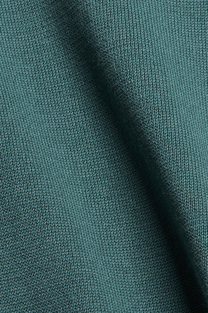 Sweter z półgolfem z mieszanki z bawełną ekologiczną, TEAL BLUE, detail image number 4