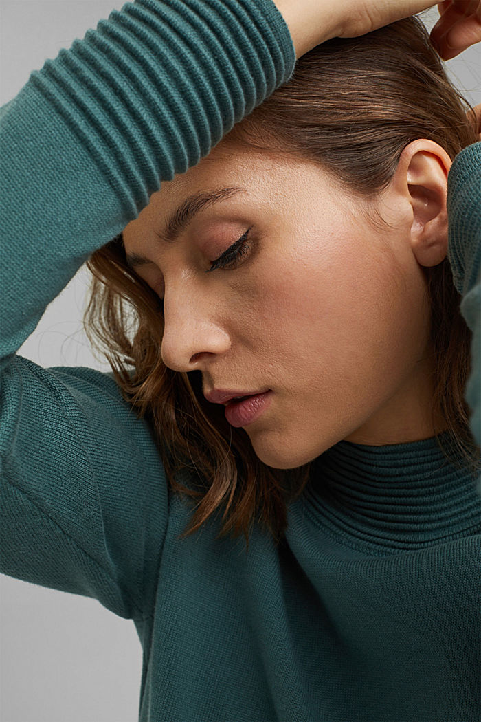 Sweter z półgolfem z mieszanki z bawełną ekologiczną, TEAL BLUE, detail image number 6
