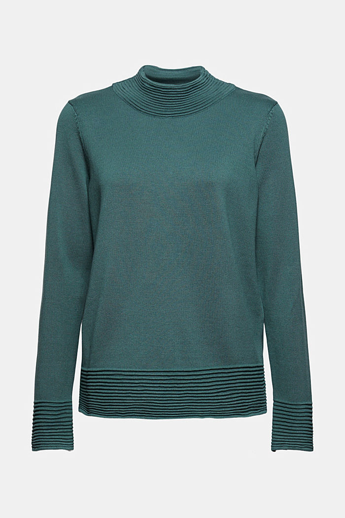 Sweter z półgolfem z mieszanki z bawełną ekologiczną, TEAL BLUE, detail image number 7