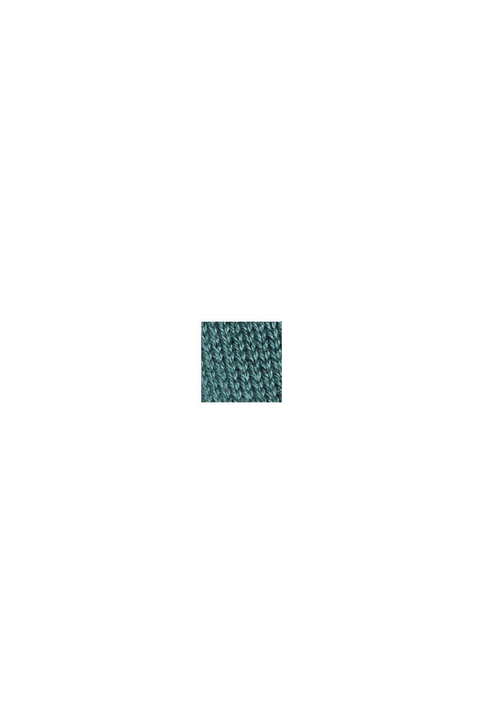 Rullekravebluse i økologisk bomuldsblanding, TEAL BLUE, swatch