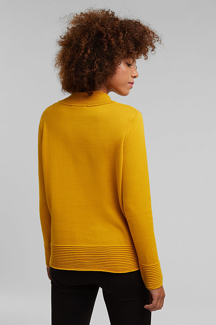 Turtleneck jumper made of organic blended cotton, BRASS YELLOW, detail image number 3