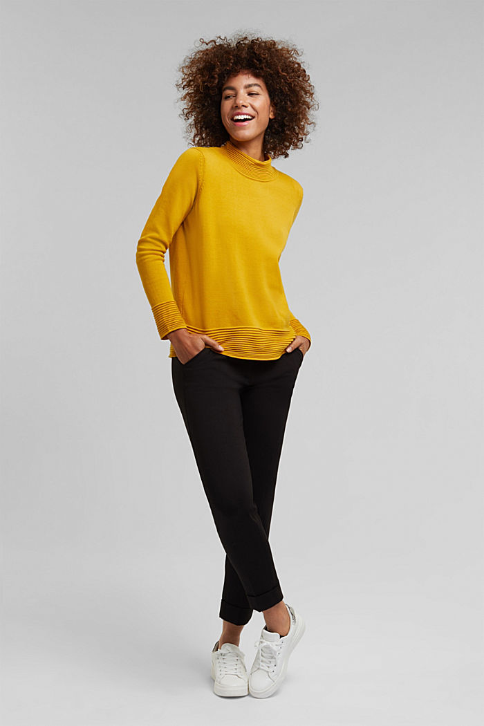 Turtleneck jumper made of organic blended cotton, BRASS YELLOW, detail image number 1