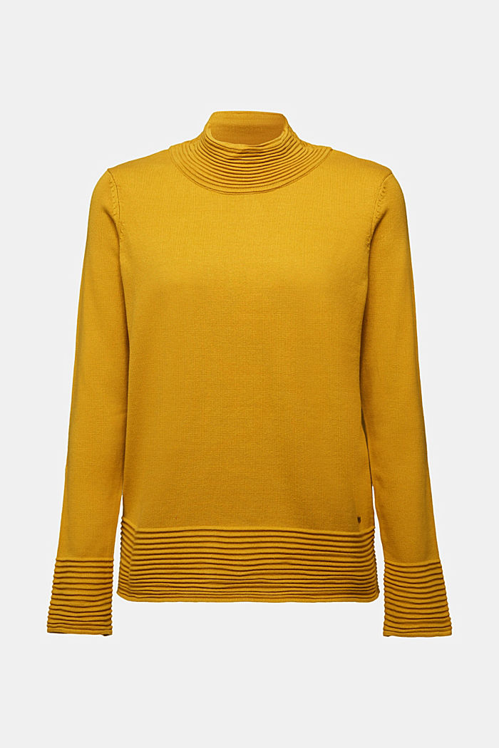 Turtleneck jumper made of organic blended cotton, BRASS YELLOW, detail image number 5