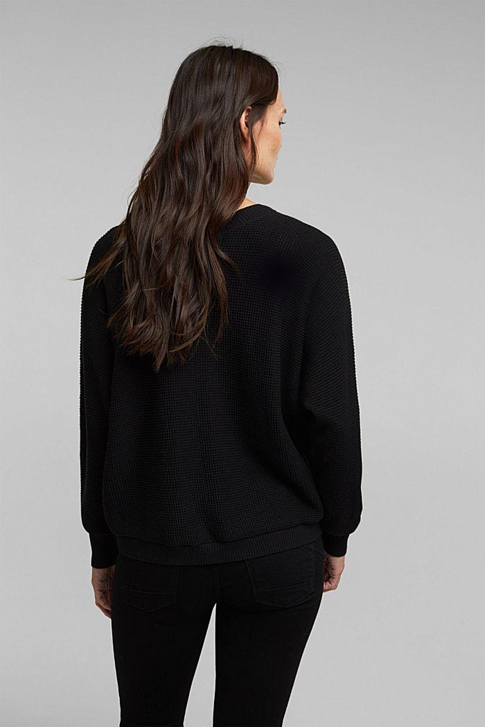 Textured batwing cardigan, BLACK, detail image number 3