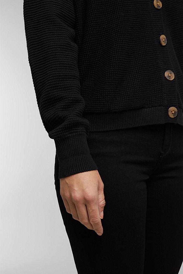 Textured batwing cardigan, BLACK, detail image number 5