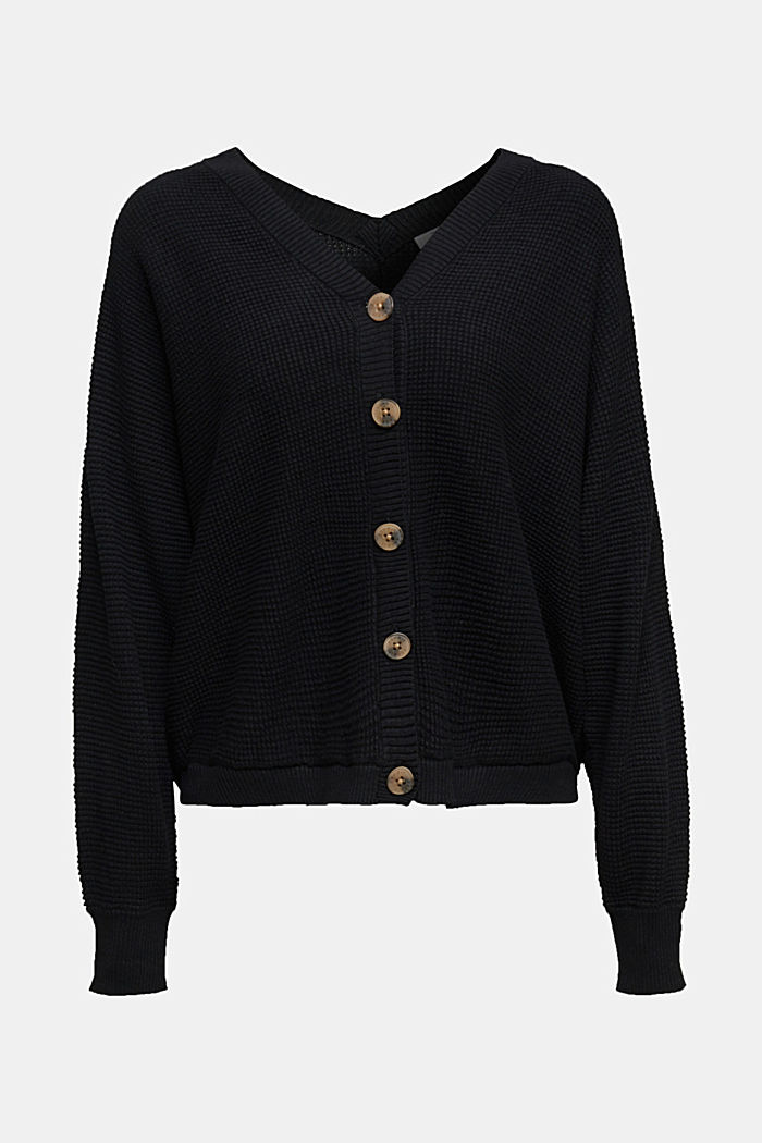 Textured batwing cardigan, BLACK, detail image number 6