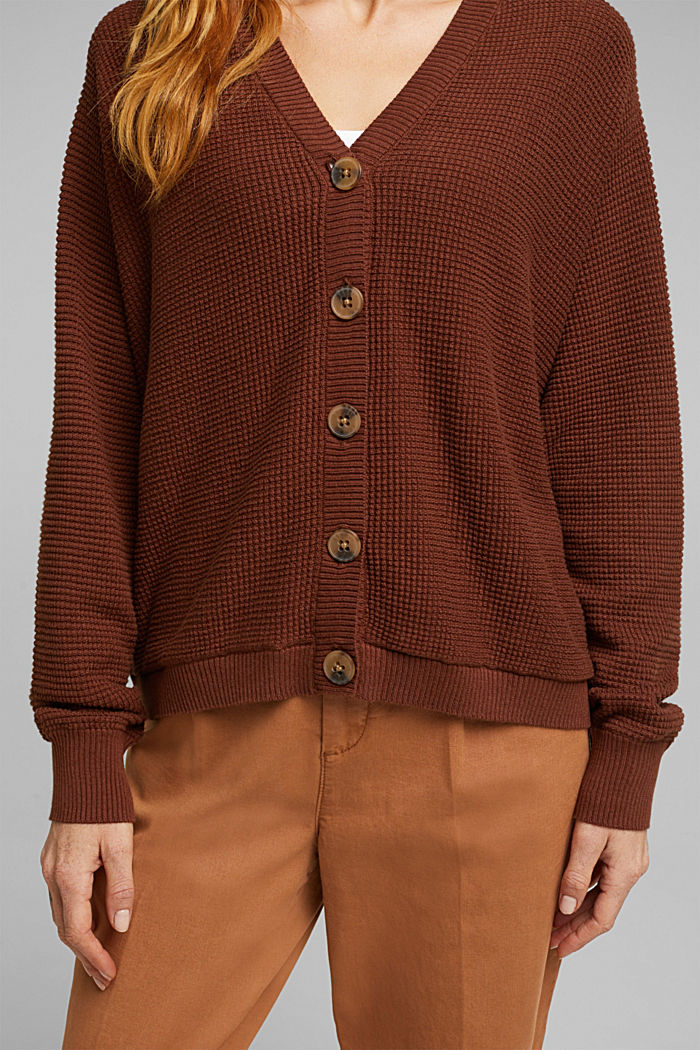 Cardigan with organic cotton, BROWN, detail image number 2