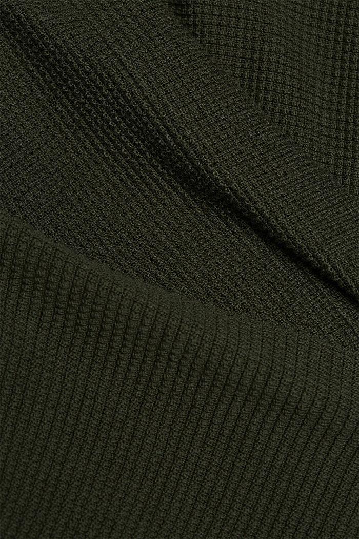 Vest in vleermuisstijl met structuur, KHAKI GREEN, detail image number 4
