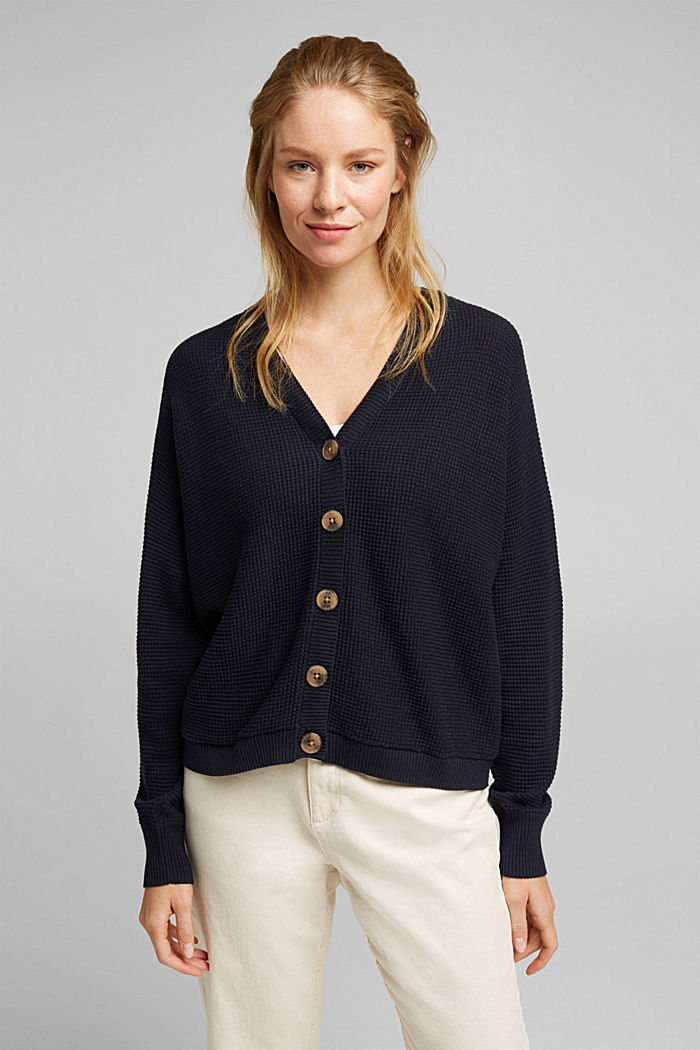 Cardigan with organic cotton, NAVY, detail image number 0