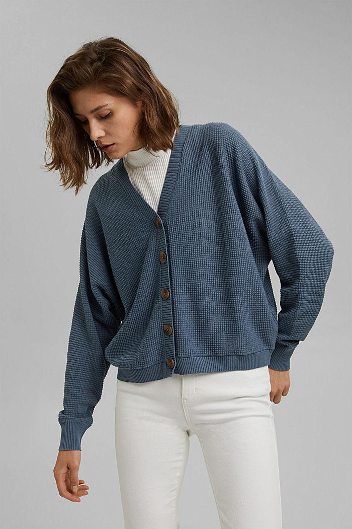 Cardigan texturé à manches chauve-souris, GREY BLUE, detail image number 0