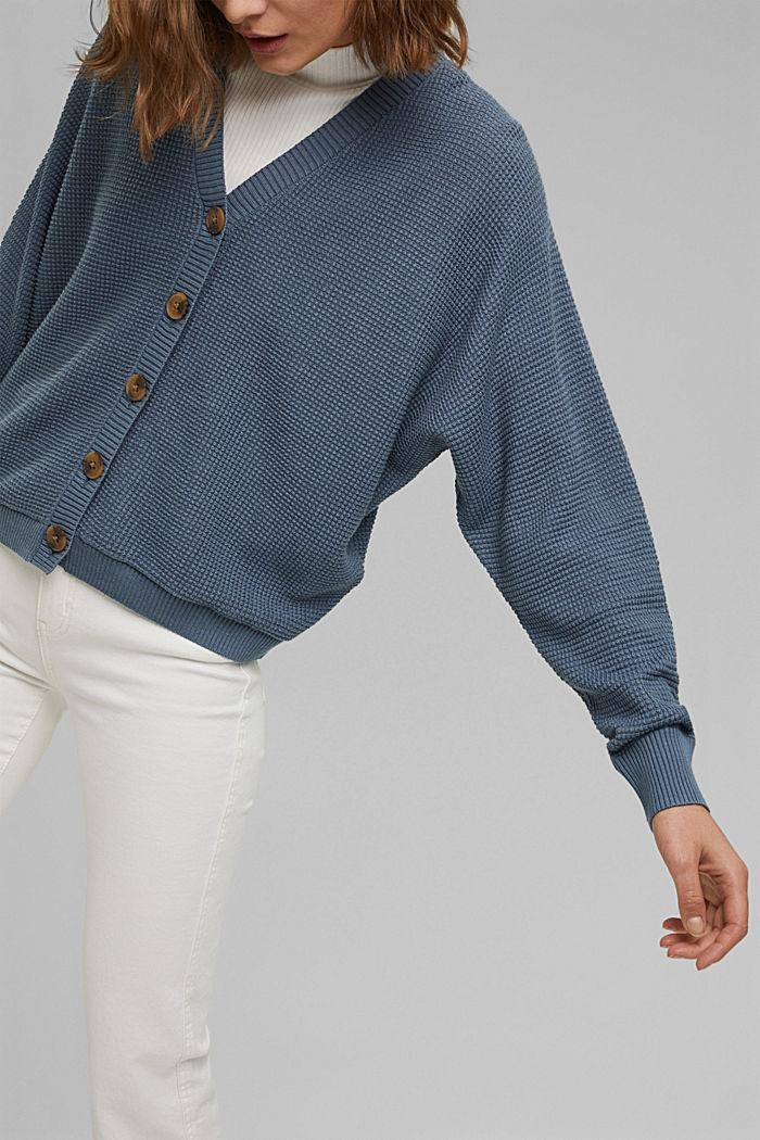 Cardigan texturé à manches chauve-souris, GREY BLUE, detail image number 2