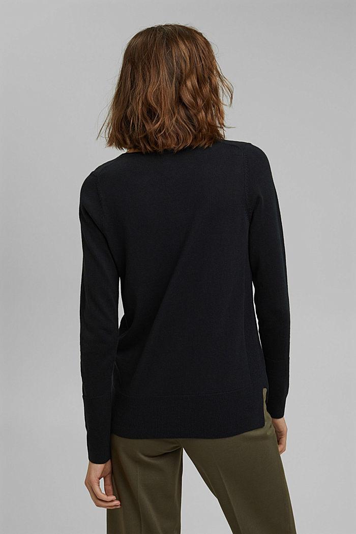 V-Neck-Pullover mit Organic Cotton, BLACK, detail image number 3