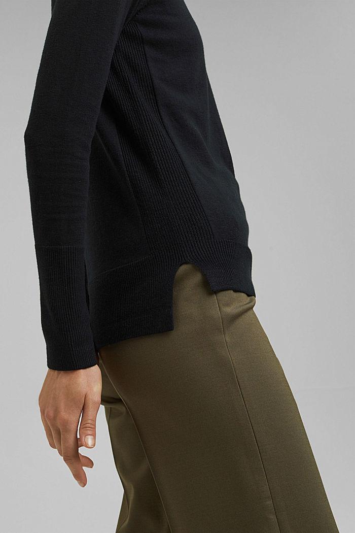 V-Neck-Pullover mit Organic Cotton, BLACK, detail image number 2