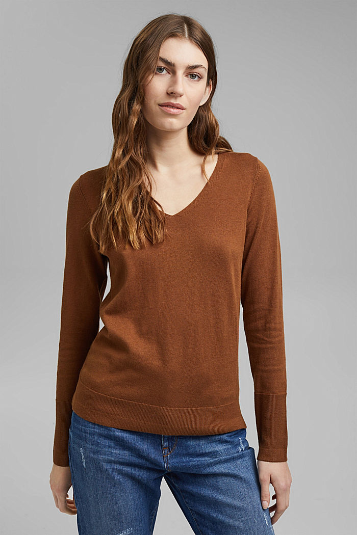 V-Neck-Pullover mit Organic Cotton, TOFFEE, detail image number 0