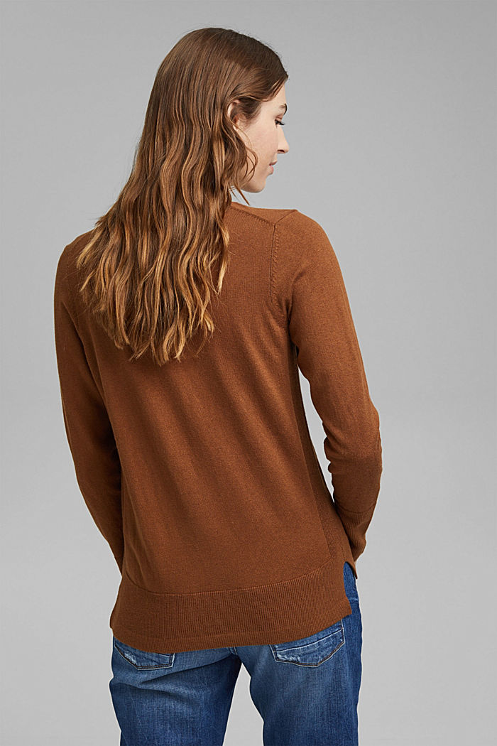 V-Neck-Pullover mit Organic Cotton, TOFFEE, detail image number 3