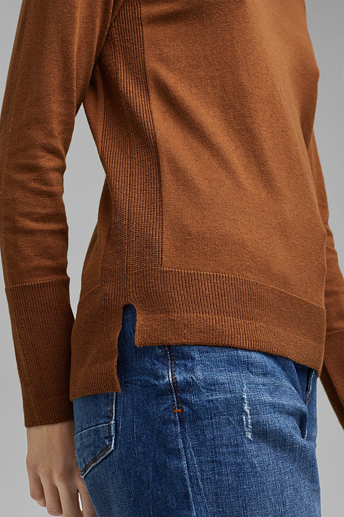 V-Neck-Pullover mit Organic Cotton, TOFFEE, detail image number 2