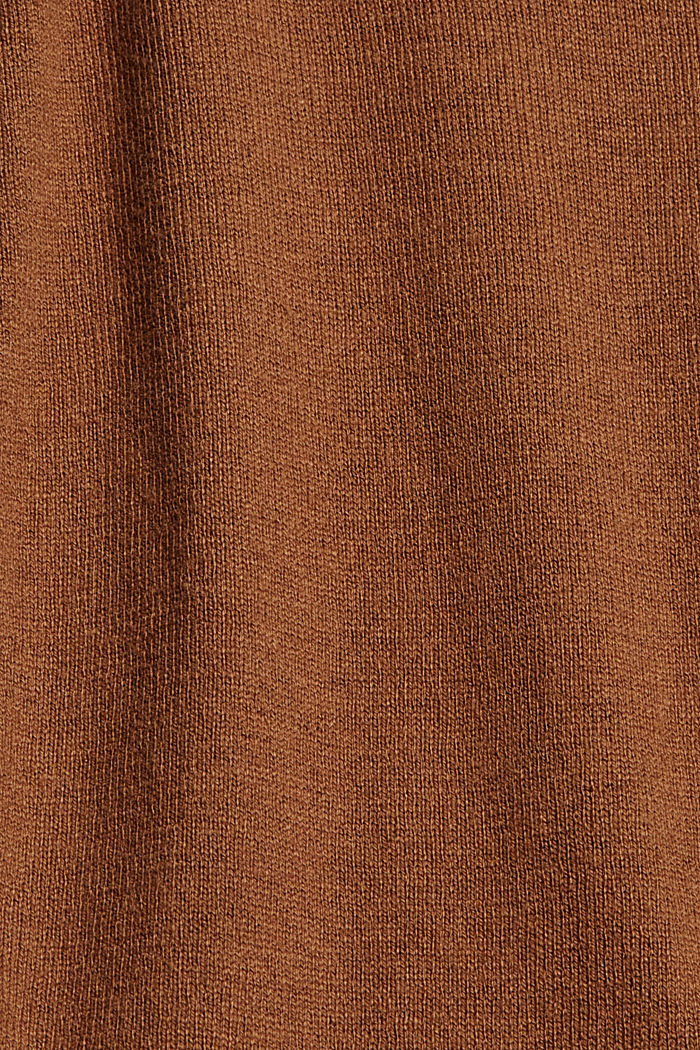 V-Neck-Pullover mit Organic Cotton, TOFFEE, detail image number 4
