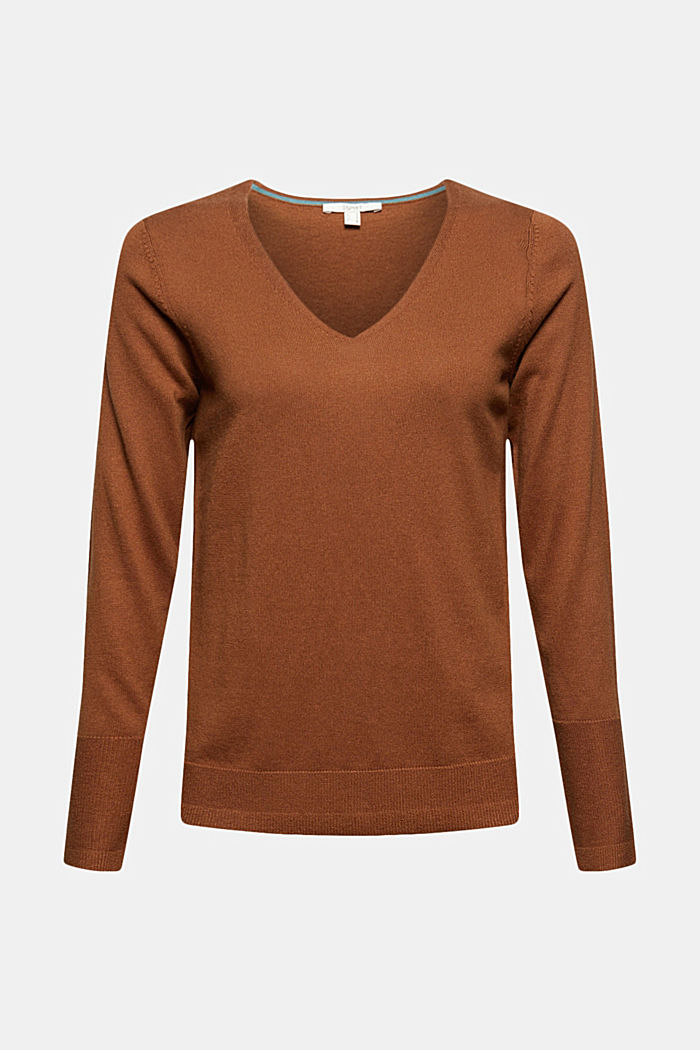 V-Neck-Pullover mit Organic Cotton, TOFFEE, detail image number 5
