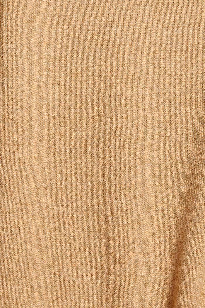 Trui met V-hals, met biologisch katoen, KHAKI BEIGE, detail image number 4