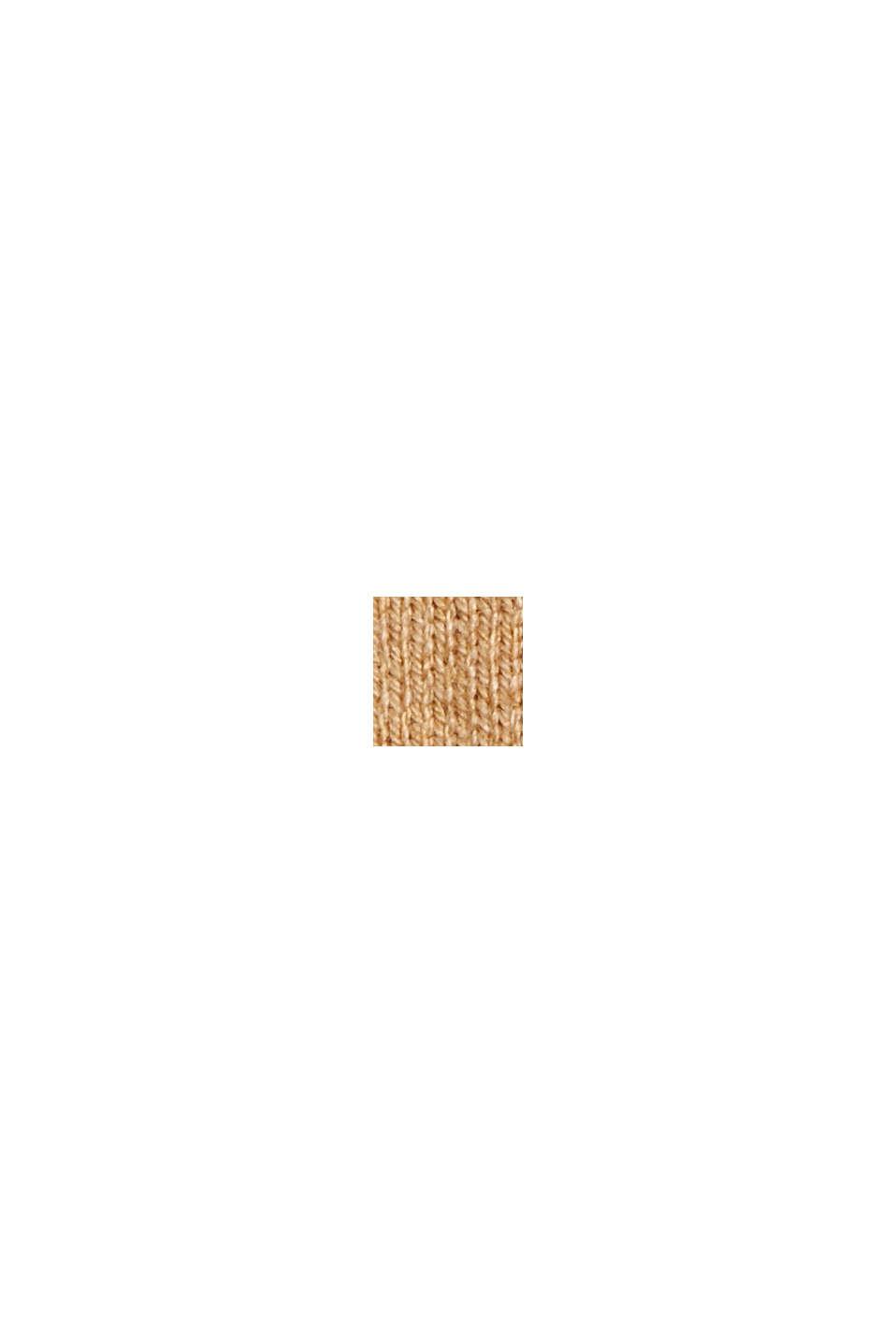 Pullover med økologisk bomuld og V-udskæring, KHAKI BEIGE, swatch