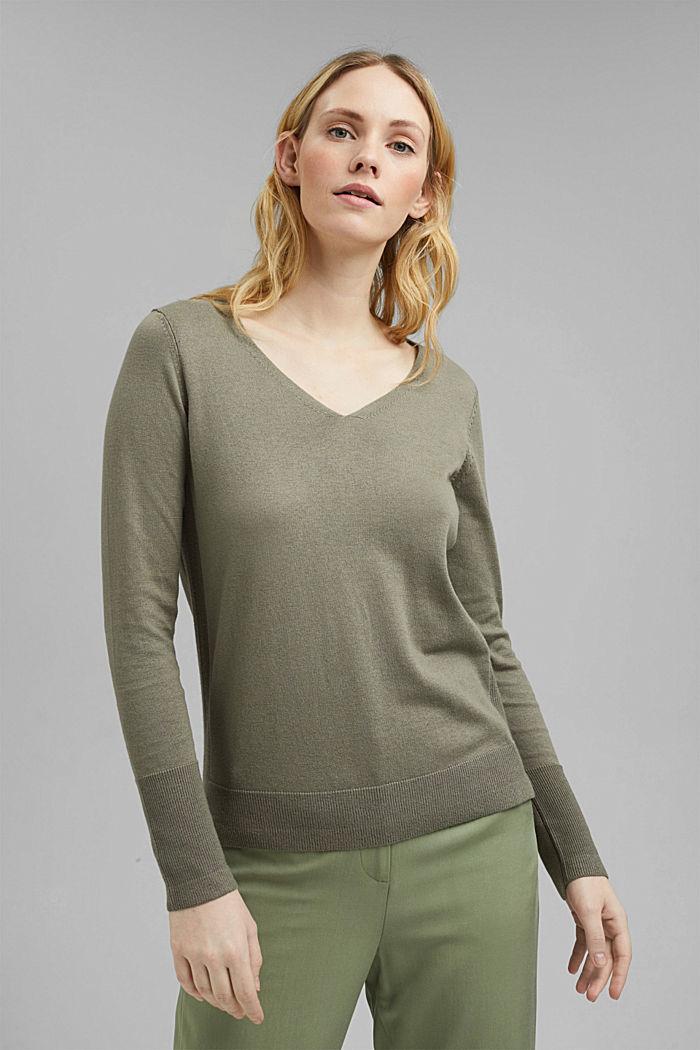V-neck jumper containing organic cotton, LIGHT KHAKI, detail image number 0