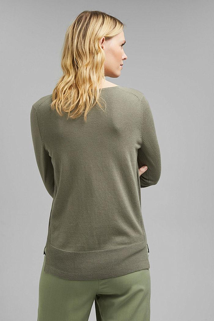 V-neck jumper containing organic cotton, LIGHT KHAKI, detail image number 3
