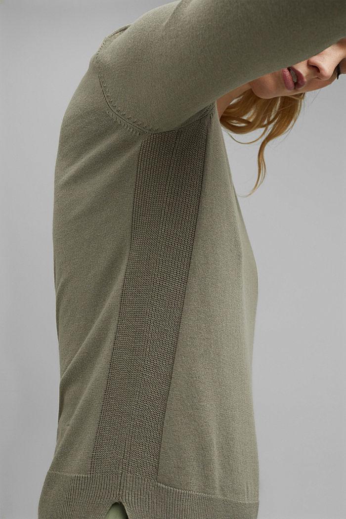 V-neulepusero, jossa luomupuuvillaa