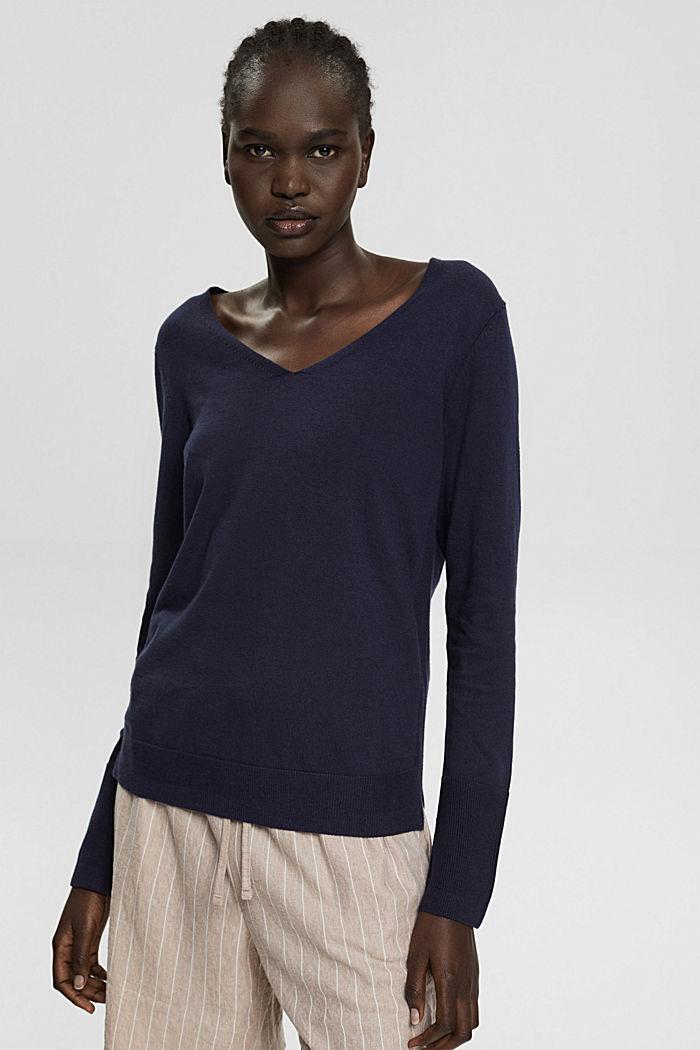 V-Neck-Pullover mit Organic Cotton, NAVY, detail image number 0
