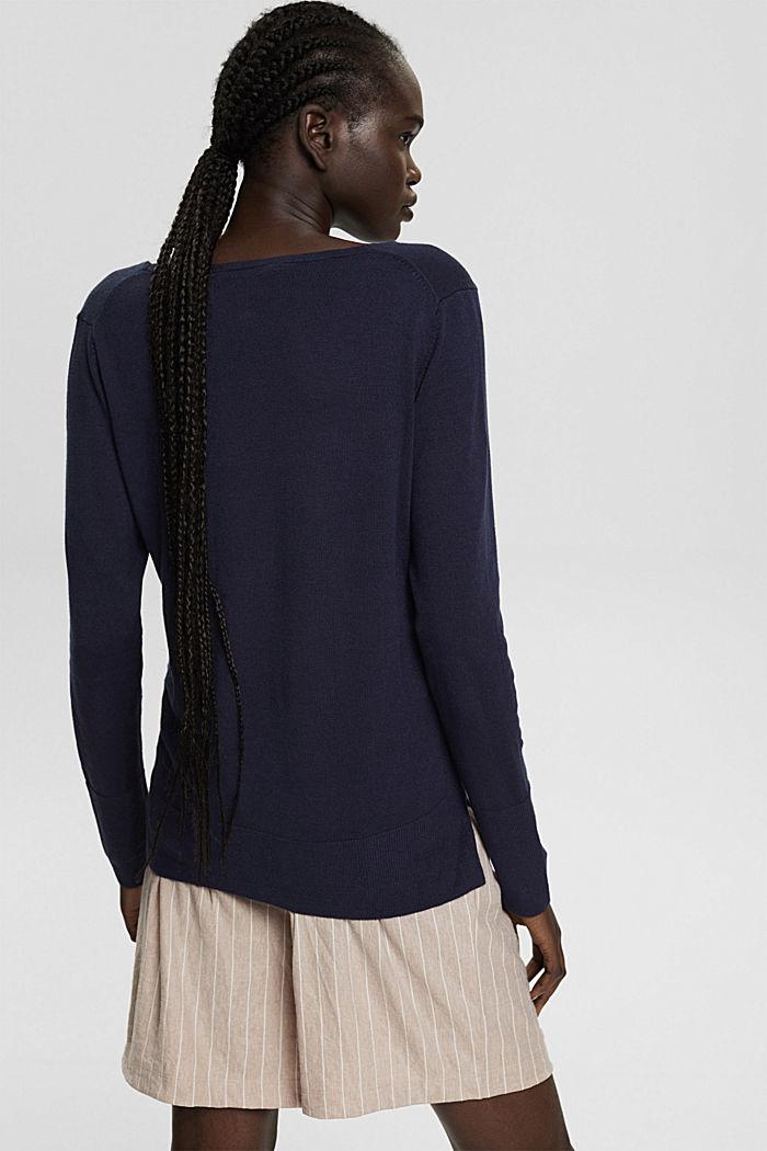 V-Neck-Pullover mit Organic Cotton, NAVY, detail image number 3