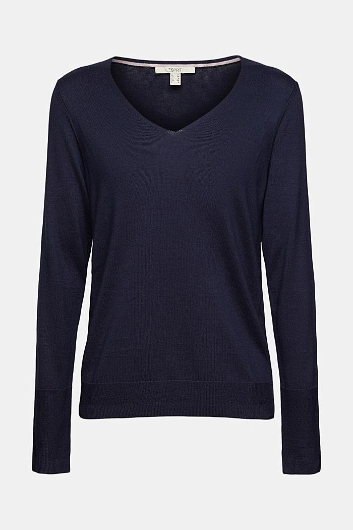 V-Neck-Pullover mit Organic Cotton, NAVY, detail image number 7