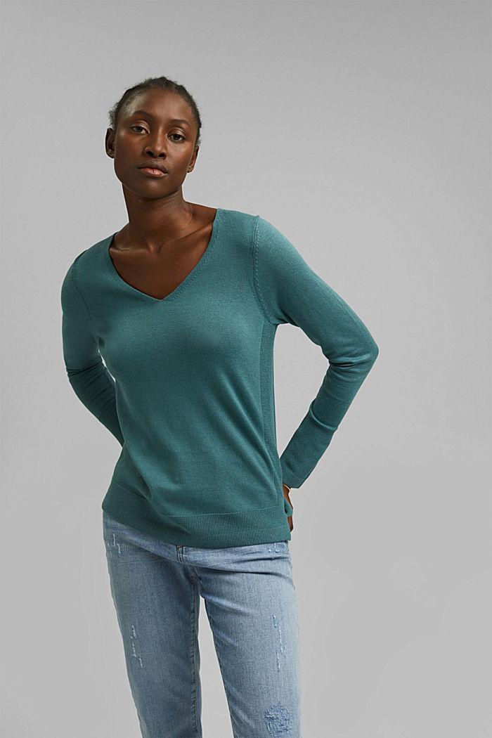V-Neck-Pullover mit Organic Cotton, TEAL BLUE, detail image number 0