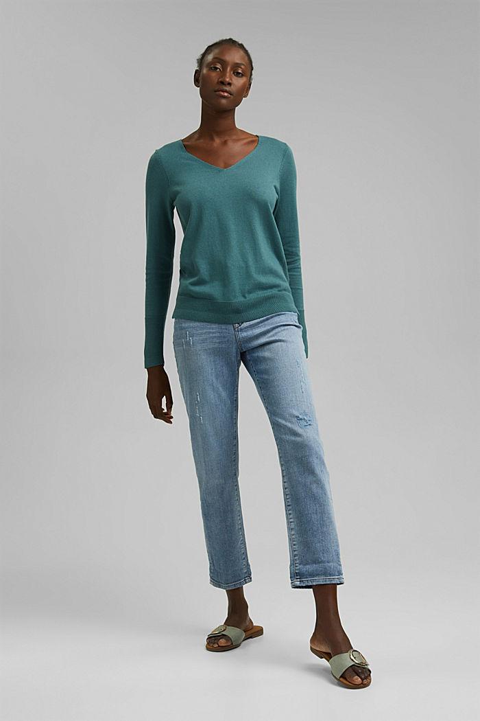 V-Neck-Pullover mit Organic Cotton, TEAL BLUE, detail image number 1