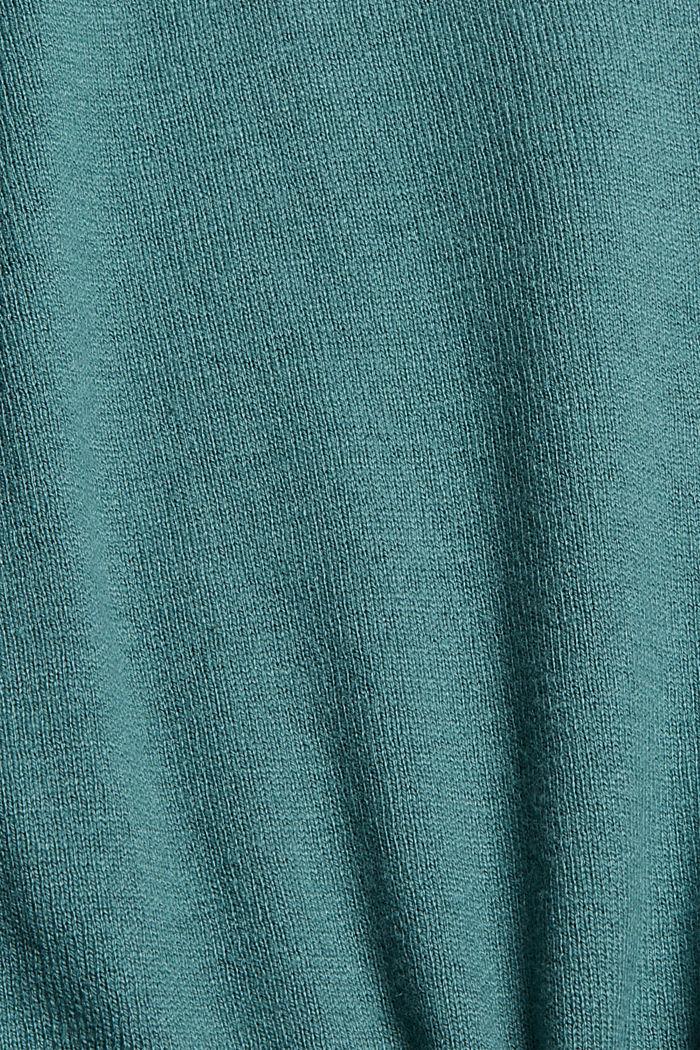 V-Neck-Pullover mit Organic Cotton, TEAL BLUE, detail image number 4