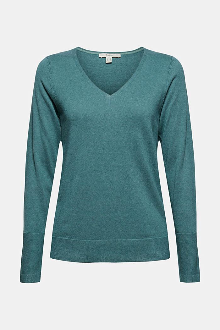 V-Neck-Pullover mit Organic Cotton, TEAL BLUE, detail image number 5