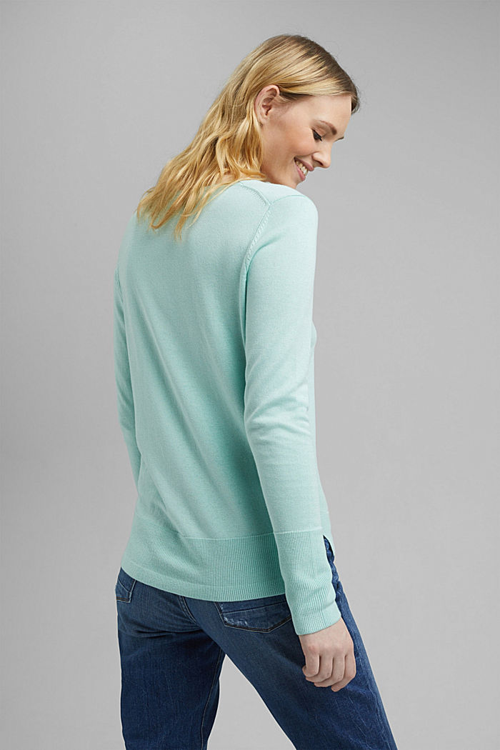V-neck jumper containing organic cotton, LIGHT TURQUOISE, detail image number 3
