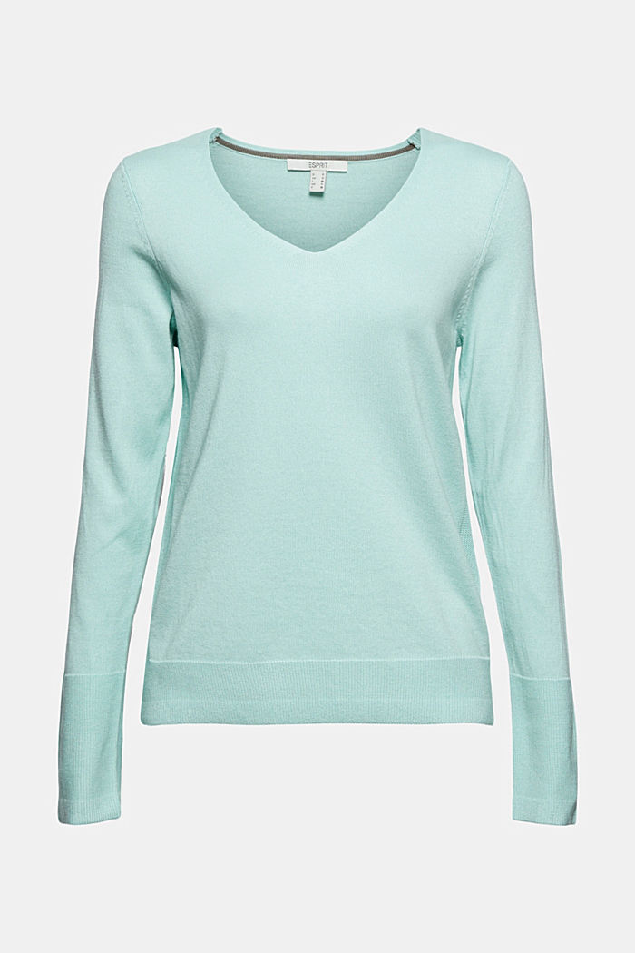 V-neck jumper containing organic cotton, LIGHT TURQUOISE, detail image number 7