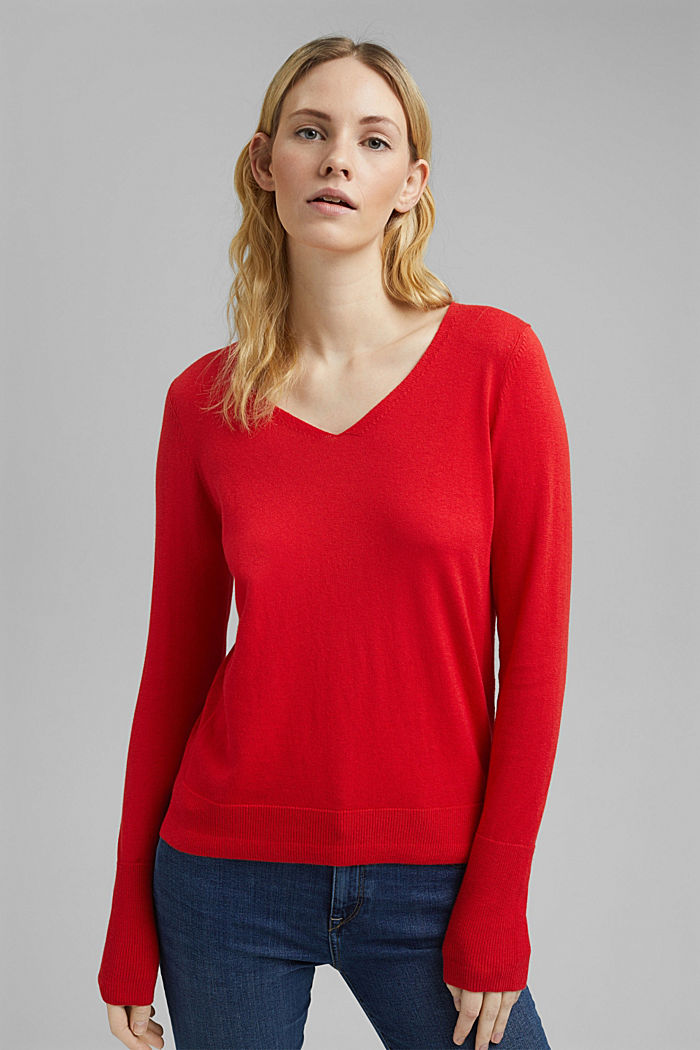 V-neck jumper containing organic cotton, RED, detail image number 0
