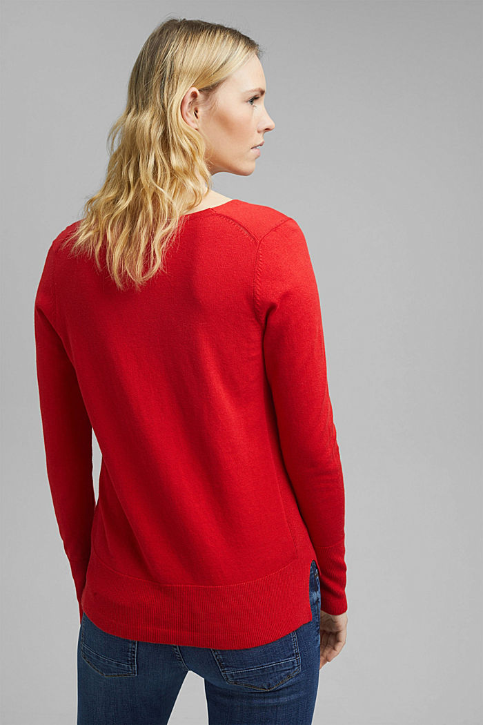 V-neck jumper containing organic cotton, RED, detail image number 3
