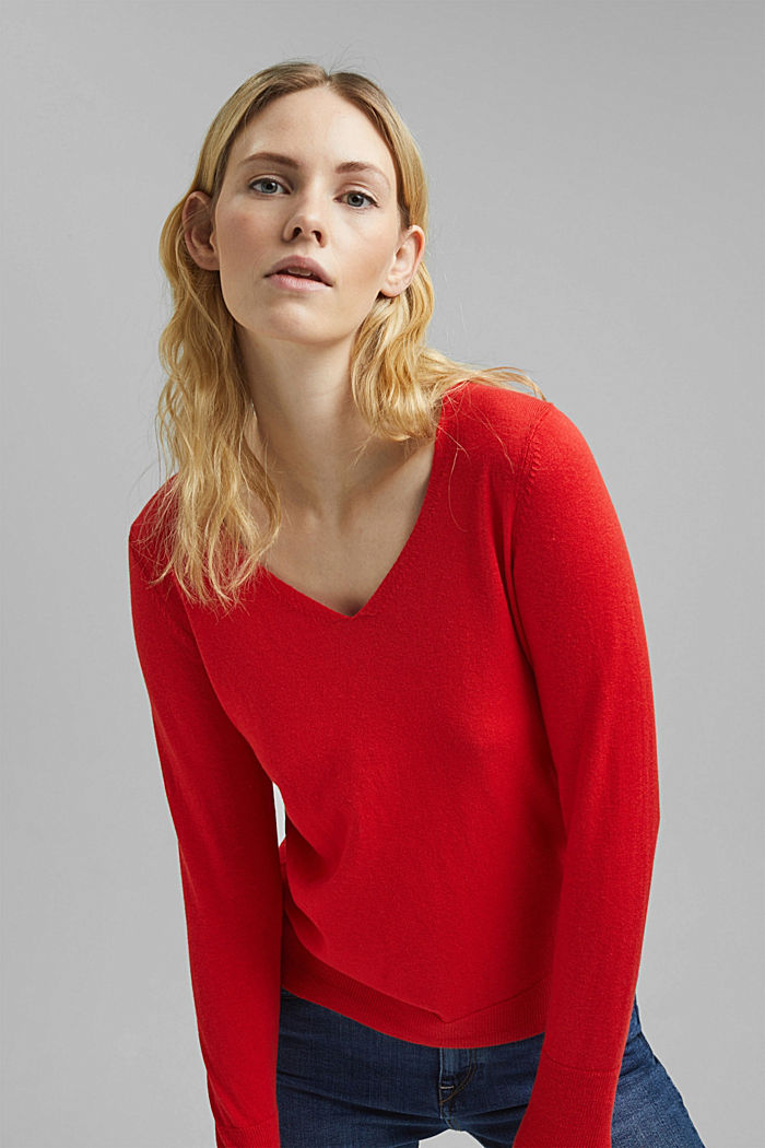 V-neck jumper containing organic cotton, RED, detail image number 6